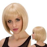 Straight Short Full Bang Light Blonde Women's Spiffy Synthetic Wig - LIGHT GOLD