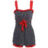 Chic Polka Dot Printed Dress and Boxers Swimming Suit For Women - BLACK