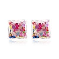 Pair of Rhinestone Stud Earrings - COLORMIX