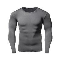 Quick-Dry Round Neck Long Sleeve Fitness T-Shirt - GRAY
