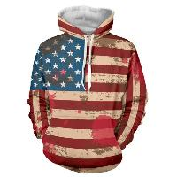 Flag Pattern Long Sleeve Drawstring Pullover Hoodie - RED