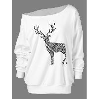 Fawn Print Skew Collar Pullover Sweatshirt - WHITE