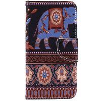 Ethnic Floral Elephant PU Wallet Design Phone Case For iPhone 7 - COLORMIX