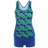 Racer Back Printed Tankini Set - BLUE/GREEN