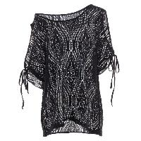Cold Shoulder Batwing Beach Cover Up - BLACK