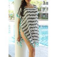 Stylish Scoop Neck Striped Tassel Spliced Short Sleeve Cover-Up For Women - STRIPE