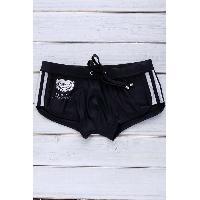 Color Block Logo Pattern Design Lace-Up Boxer Swimming Trunks For Men - BLACK