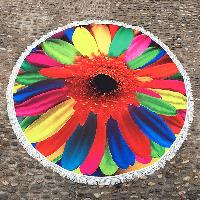 Tassel Embellished Colorful Sunflower Round Beach Blanket - COLORFUL