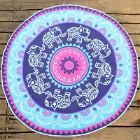 Chiffon Round Beach Throw with Indian Elephant Print - BLUE VIOLET