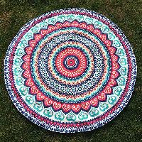 Round Beach Throw with Bohemian Style Vortex Printed - COLORMIX