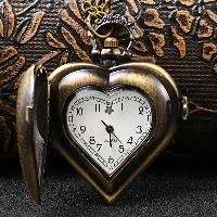 Heart Shaped Lanyard Chain Quartz Pocket Watch - COPPER COLOR