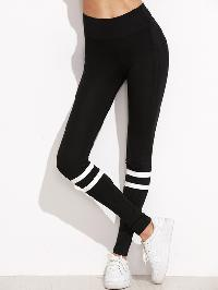 Black Stripe Trim High Waist Leggings