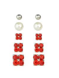 Elegant Imitation Pearl Red  Crystal Small Stud Earrings Set