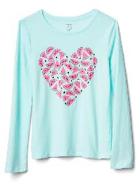 Gap Embellished Graphic Long Sleeve Tee - Ballerina blue