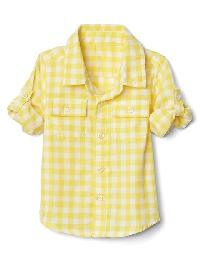 Gap Gingham Double Weave Convertible Shirt - Lemon drop yellow