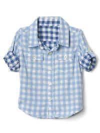 Gap Gingham Double Weave Convertible Shirt - New off white