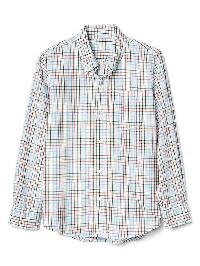 Gap Plaid Poplin Button Down Shirt - Blue/pink/multi