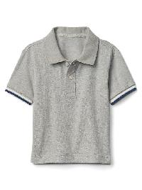 Gap Stripe Sleeve Pique Polo - Heather gray