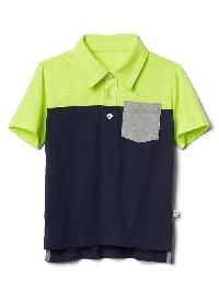 Gap Colorblock Short Sleeve Slub Polo - Active yellow