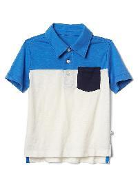 Gap Colorblock Short Sleeve Slub Polo - Tile blue