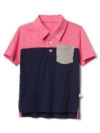 Gap Colorblock Short Sleeve Slub Polo - Pixie dust pink