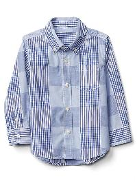 Gap Patchwork Plaid Button Down Shirt - Cabana blue