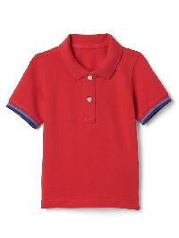 Gap Stripe Sleeve Pique Polo - Pure red