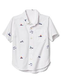 Gap Ocean Embroidery Short Sleeve Shirt - Off white