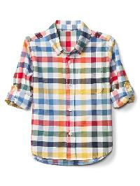 Gap Plaid Oxford Convertible Shirt - Multi