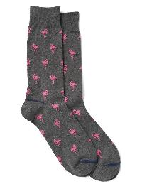 Gap Print Crew Socks - Gray heather