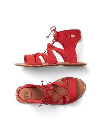 Gap Lace Up Strap Sandals - Pepper red