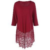 Plus Size Lace Trim Longline T-Shirt - WINE RED