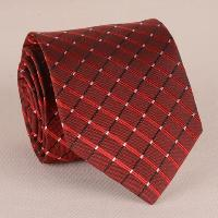 Stylish Checkered Pattern 8CM Width Wine Red Tie For Men - WINE RED