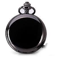 Luxury Design 12 Arabic Numbers Analog Flip Pocket Watch - BLACK