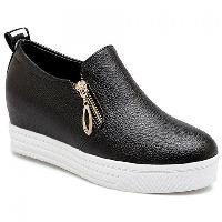 Leisure Zipper and Letter Design Wedge Shoes For Women - BLACK