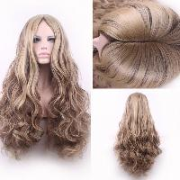 Bouffant Curly Long Synthetic Trendy Light Blonde Mixed Brown Middle Part Cosplay Wig For Women - COLORMIX