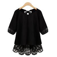 Sweet Round Neck Half Sleeve Bowknot Design Spliced Women's Chiffon Blouse - BLACK