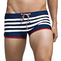 Color Block Stripes Low Waist Lace-Up Boxer Swimming Trunks For Men - DEEP BLUE