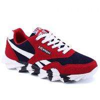 Low Top Color Block Sneakers - RED