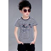 Casual Round Neck Short Sleeve Letter Pattern Striped Boy's T-Shirt - BLACK