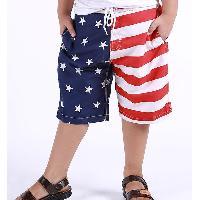 Stylish Drawstring Color Block Star Print Striped Boy's Shorts - WHITE