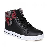 Fashion Checked and Fold Design Casual Shoes For Men - BLACK