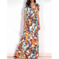 Elegant V-Neck Short Sleeve Multicolored Print Plus Size Maxi Dress For Women - COLORMIX