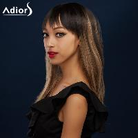 Attractive Full Bang Long Synthetic Silky Straight Black Brown Ombre Adiors Wig For Women - BLACK/BROWN