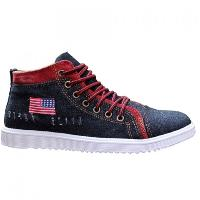 Stylish Denim and Lace-Up Design Casual Shoes For Men - BLACK GREY