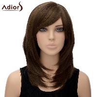 Noble Straight Tail Adduction Long Synthetic Light Brown Mixed Side Bang Wig For Women - LIGHT BROWN