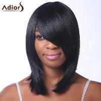 Trendy Black Medium Capless Straight Heat Resistant Synthetic Adiors Wig For Women - BLACK