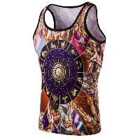 Fashion 3D Round Neck Cartoon Printed Tank Top For Men - COLORMIX