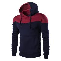 IZZUMI Classic Color Block Front Pocket Hooded Long Sleeves Hoodie For Men - CADETBLUE