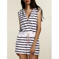 Stylish Striped Hooded Cover-Up Romper For Women - BLACK